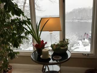View of lake in snow storm