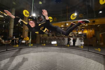 Me, trying out indoor skydiving in Slovakia