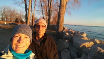 Frank and I at the lake while visiting family in Ohio, USA