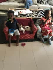 My kids with a foster cat