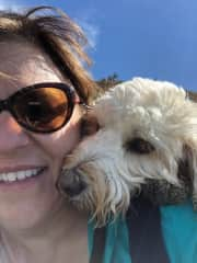 Me and Bella, a sweet Doodle that loves hiking and playing at the beach.