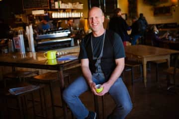 Me at my favorite coffee shop in Santa Fe.  From my website.