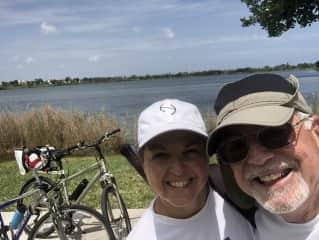 Bill and Tracy biking in the neighborhood