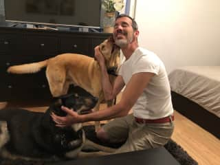 Daniel with both dogs in Germany, June 2019