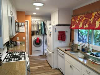 Kitchen and laundry.