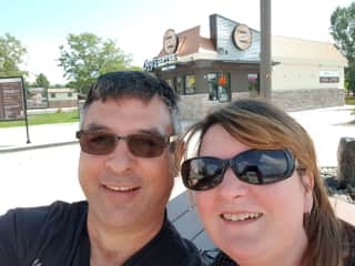 Andrew and Carolyn in Loveland Colorado, drinking coffee