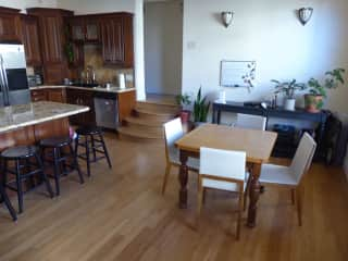 This is the combined living/dining/kitchen area.
