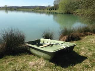 Part of our lake with our rowingboat