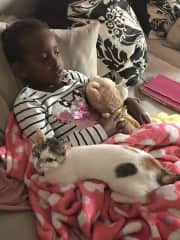 My daughter with our favourite foster cat