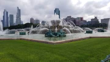 Buckingham Fountain- it is about 5 miles south of the apartment on the lakefront trail. Another mile and you are at the aquarium, planatarium and natural history museum.