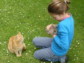 Our daughter with pets