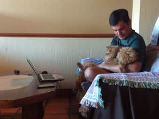 Mati with Thory while house and pet sitting in Ajijic, Mexico.