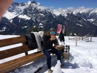 Gail enjoying lunch in Eggberg, Switzerland