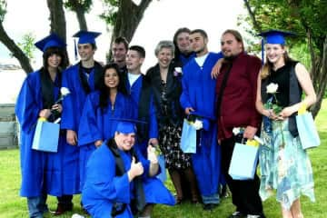 Marta with her graduating seniors at the Alternative School on Orcas Island, WA.