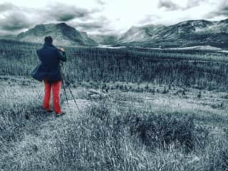 Elliot takes a picture in Glacier National Park 2016