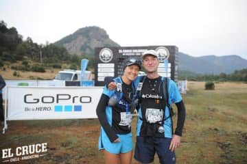 Wouter & Sonia at the start of the El Cruce ultramarathon in Patagonia
