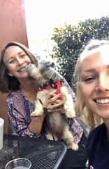 Ann, getting kiss from grandpuppy. Out for lunch with Nala and granddaughter, Emily.