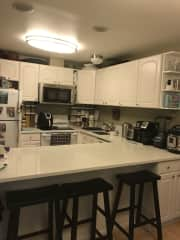 Full kitchen with all the basics plus convection microwave, coffee maker, Ninja blender, Instant-Pot, Air Fryer... and more!