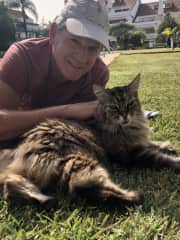 Unknown cat came up to Michael in park and demanded scratches...(March 2021)
