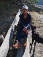 Doris and Igloo having a rest after hiking in the Swiss Alps at Vens, October 2018