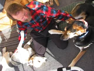 No one's left out: Geoff doling out equal affection to our dog Enya and our our house-sit pet Luggi.