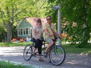 Us on a tandem bike, Toronto Island, Canada