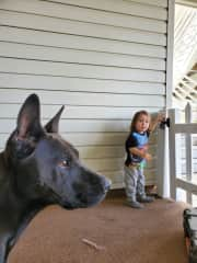 Shadow and Elisha! Just a boy and his dog, he always wants to take her on a walk.