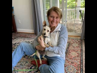 Deb with Amigo - Fostered in 2020 until healthy enough to be available for adoption.