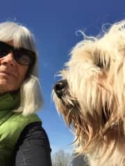 Selfie with Dougal, Tibetan Terrier, on my 2nd housesit with TH. the first one had no animals!