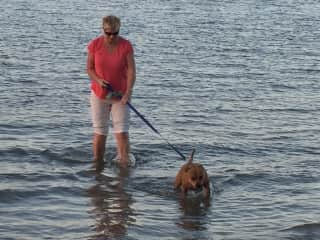 Me with Mia who hates the water