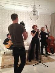 Martina, Jazz Singer, making a music video.