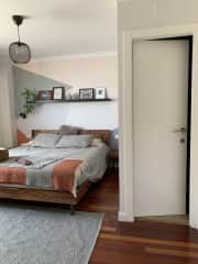 Guest room with private bathroom.