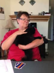 Cathie with our cat Mewser