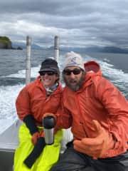 Jeff and Lauri in Kodiak, AK on their skiff.