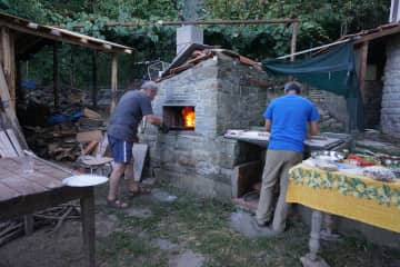 Pizza oven and woodshed