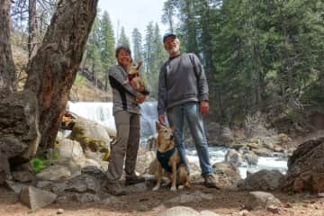 McCloud River hike with Maizey and Phinny.