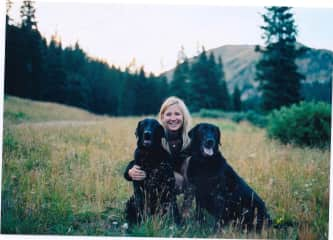 Sharlene and her  black labs Chauncey and Foster RIP ; (
