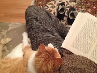 Sam and I share a book.