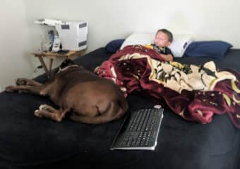 My nephew and his dog.