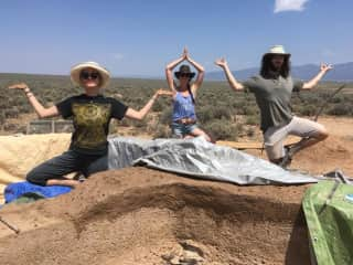 Helping on a cob house building project in New Mexico