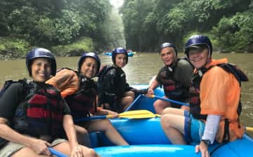 Rafting in Costa Rica with other tourists (I am on the left), Feb. 2019