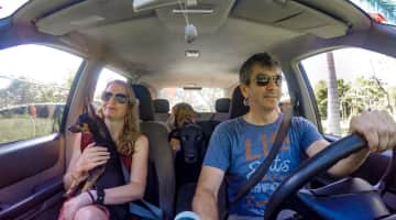 Troy and Dorene taking 3 dogs to the beach