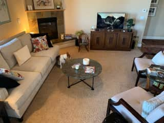 """Our living room has a gas fireplace and a Samsung """"picture"""" TV.  Off the living/dining area is a covered deck and a staircase down to the large back yard and basketball court."""