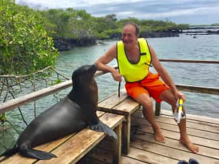 Chatting with a sea lion in the Galapagos.