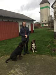 This is me with my dog Balu and his friend at home