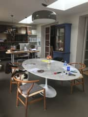 Kitchen table in open plan extension