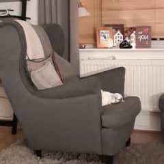 Miss Puss cheekily sleeping in the armchair
