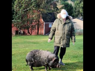 A recent picture of my mom at her hobby farm and Lorraine - a pot belly pig who as you can see was just rolling in hay :)