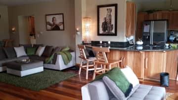 living room / black granite dining bar