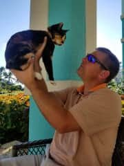 Here's me with a kitten on vacation.